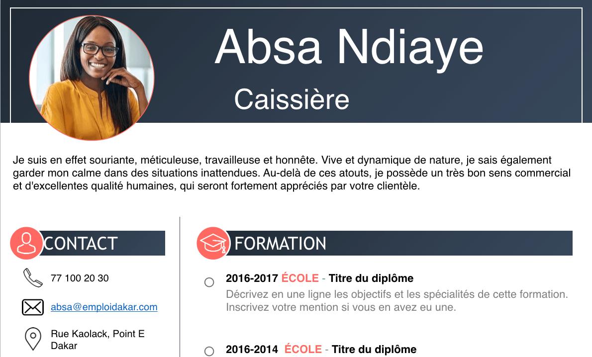 Modèle de CV Caissier / Caissière