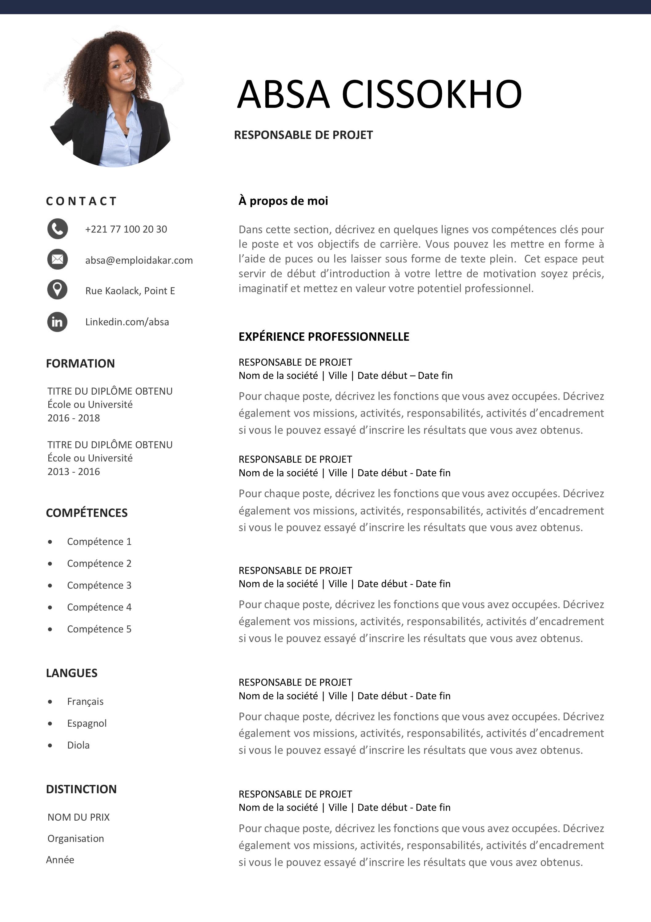 Plus adapté Exemple de CV Responsable / Chef de Projet | Emploi Dakar DT-82